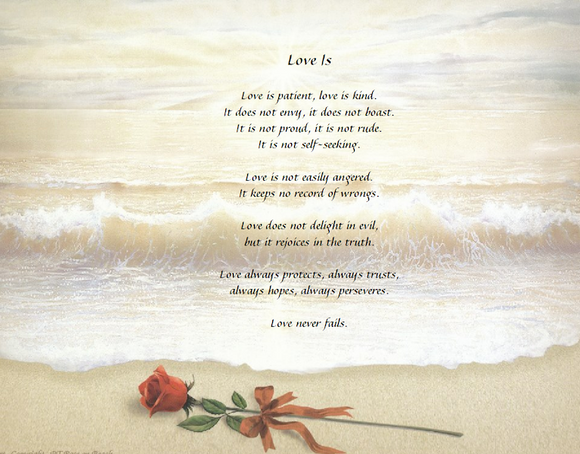 Valentines Day, Sweetheart  gift, Select one of our personalized poem, Poem called Love Is , We all need Love, This background has Rose on beach Personalized Gifts Personalized Poem, Personalized Unique Gifts