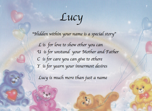 Create your own true meaning in acrostic poem, Lucy with care bears,  design acrostic poem, personalized acrostic poem, make my own acrostic poem, personalized-unique-gifts, personalized gifts