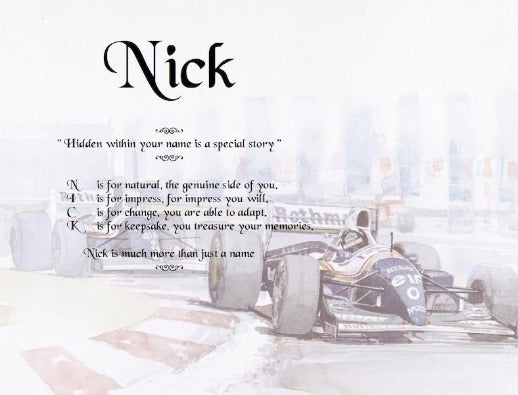 Acrostic poem for kids, Nick, Race Car, Poem Name, personalized gifts, personalized-unique-gifts