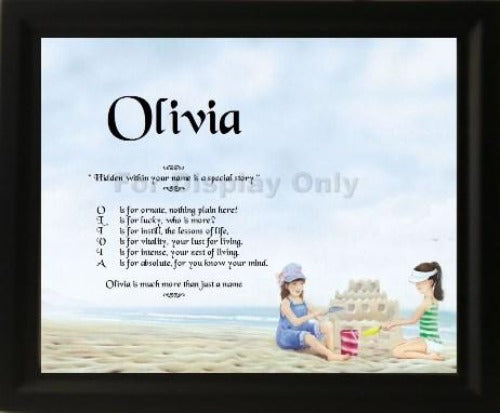 Acrostic poem gift, Olivia, acrostic poem with wooden frame, Personalized Gifts, personalized-unique-gifts, personalize gifts