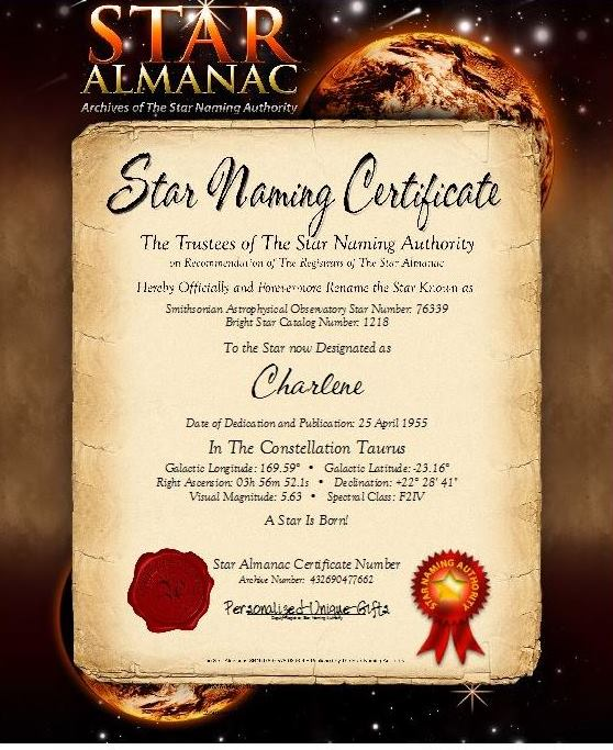 Star Almanac, Star is born, Star Naming Certificate, Personalized Unique Gifts www.personalized-unique-gifts.com