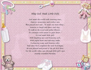 Why God Made Little Girls, Baby Girl poem, gift for a baby girl, new born baby girl, daddy little gifts, Personalized Gift, Design Gifts, personalized-unique-gifts