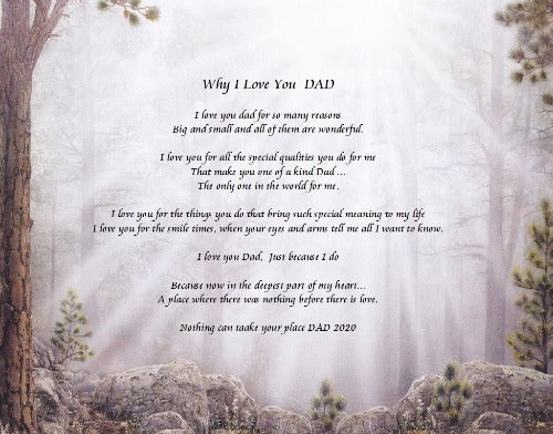Why I Love You Dad, Create poem, memories poem gift, need to do your poem, your own written poem for gift, personalized-unique-gifts