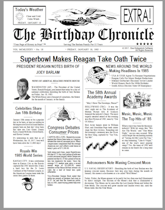 birthday newspaper, front page newspaper, about day You was born, birthday gift, Personalized Gifts, personalized-unique-gifts.com