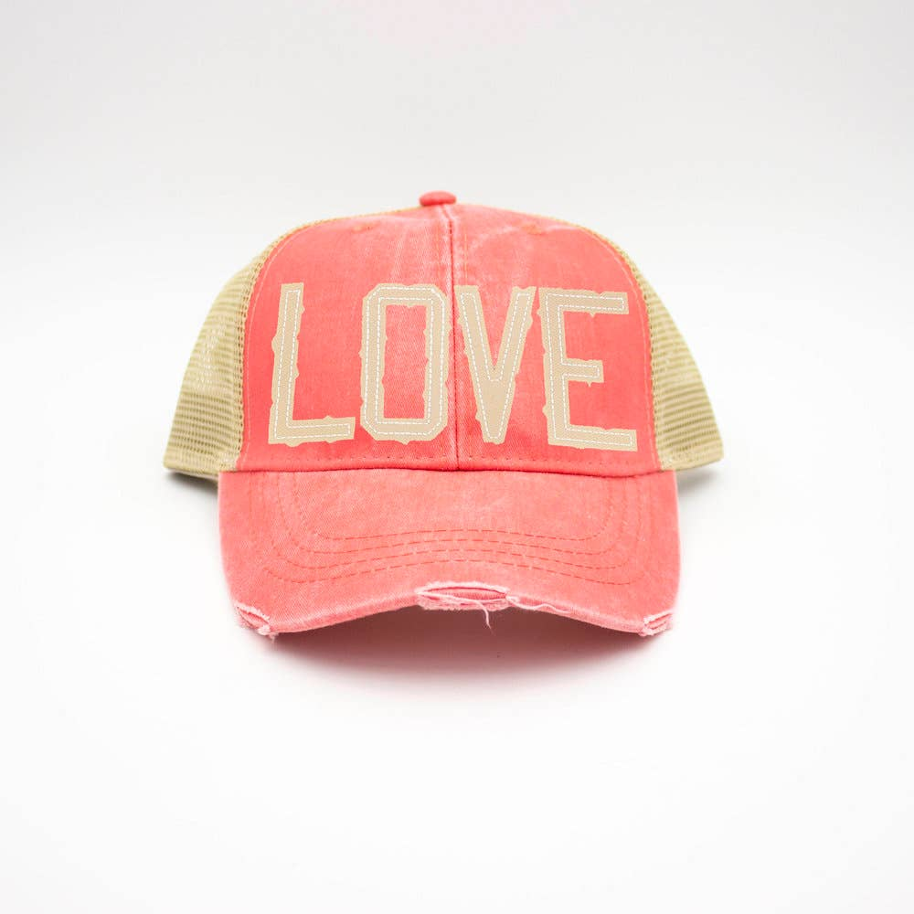 LOVE Coral Trucker Hat