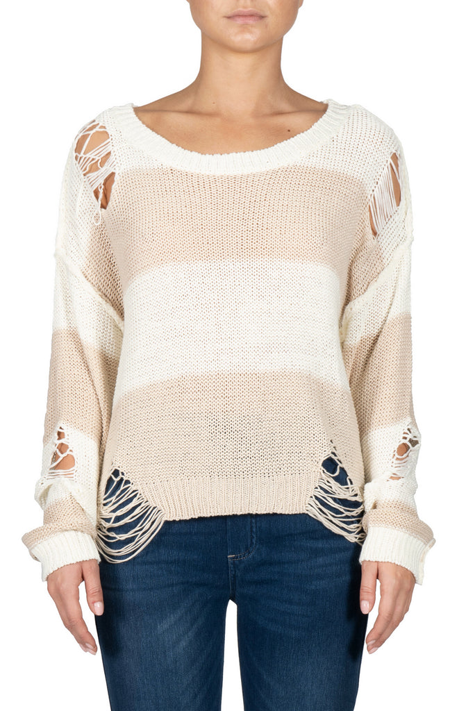 Elan: Striped Sweater with Distressing