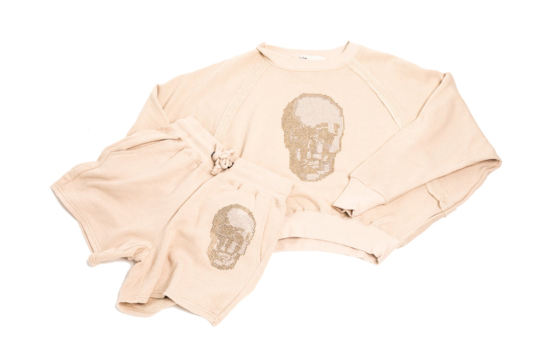 Nude Mink Mineral Washed Terry Rhinestone Skull Boyfriend Short and Reaglan Crewneck