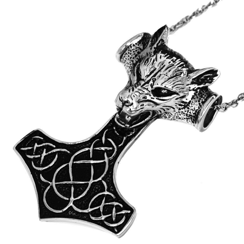 Stainless Steel Black Wolf Head Mjolnir - Norse Blood