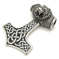 Stainless Steel Mjolnir - Thor's Hammer Lion Pendant - Norse Blood
