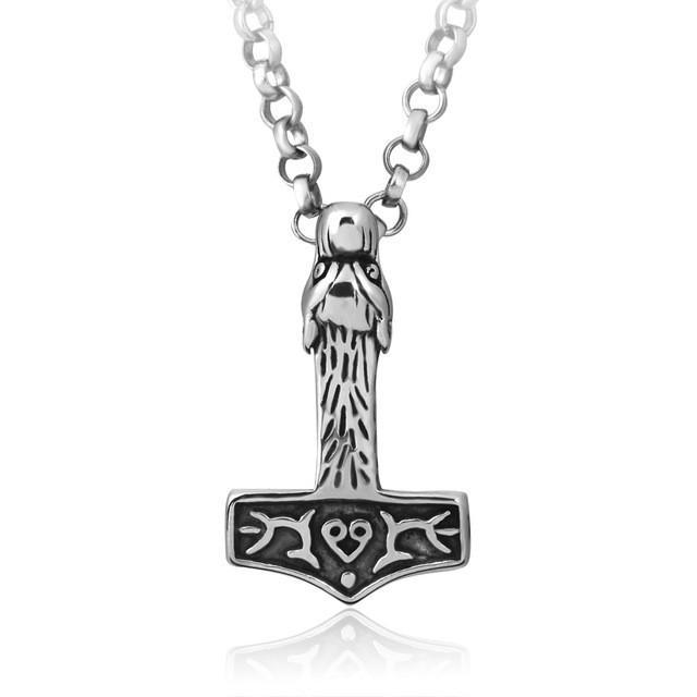 Stainless Steel Mjolnir - Thor's Hammer Wolf Pendant - Norse Blood