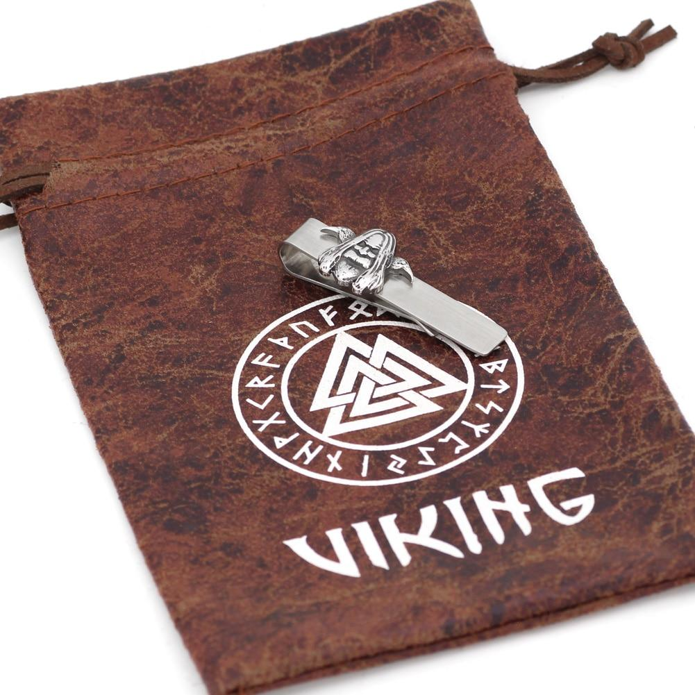 Stainless Steel Odin w/ Ravens Tie Clip - Norse Blood