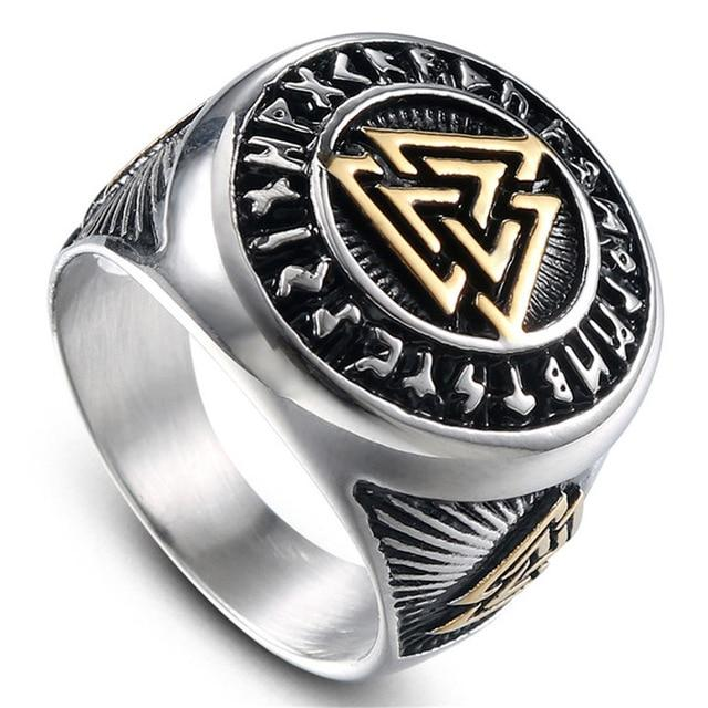 Stainless Steel Runic Valknut Ring - Norse Blood