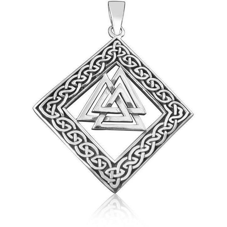 Sterling Silver Celtic Infinity Knots Valknut Pendant - Norse Blood