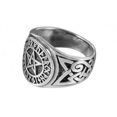 Sterling Silver Futhark Pentagram Ring - Norse Blood