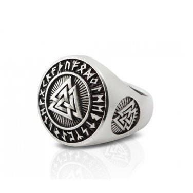 Sterling Silver Runic Valknut Ring - Norse Blood