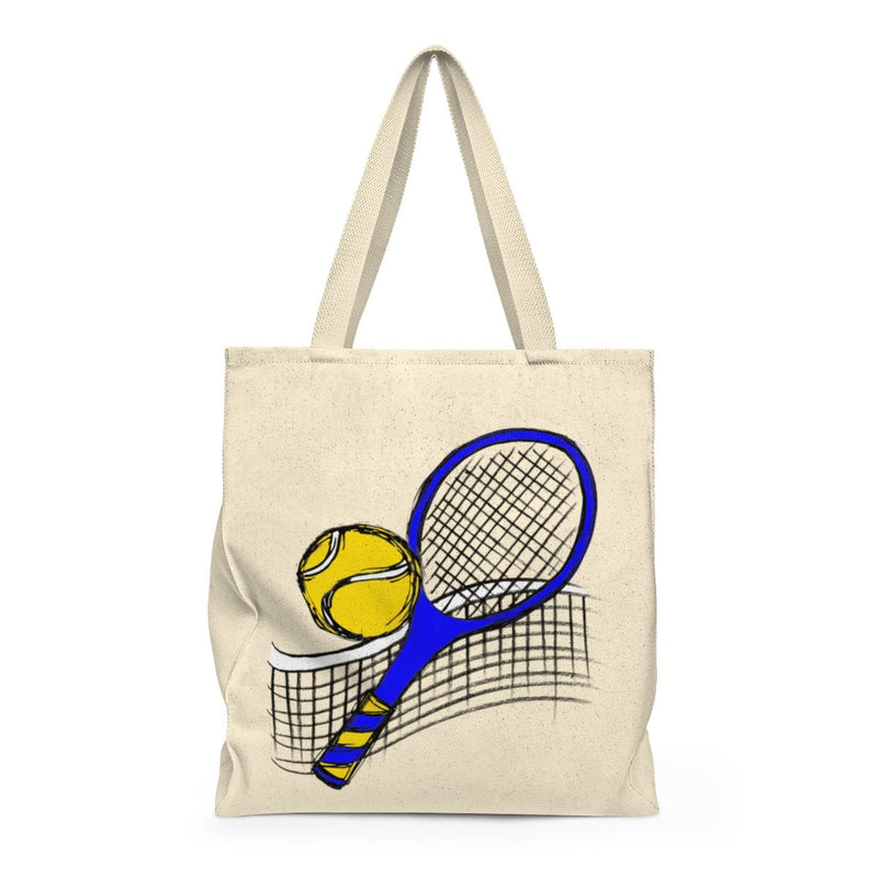 Sketched Tennis-Shoulder Tote Bag - Roomy