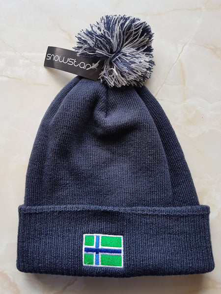 South Uist Pom Pom Beanie in French Navy/Light Grey