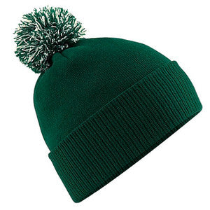 South Uist Pom Pom Beanie in Bottle Green/Off White