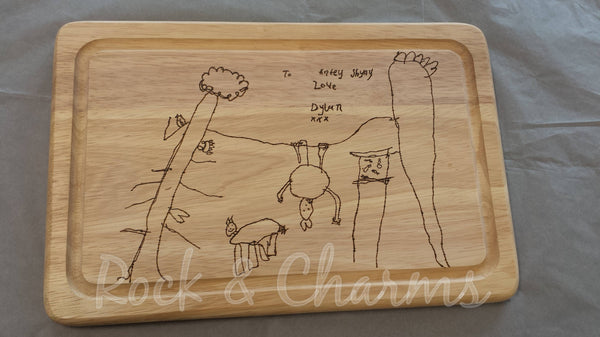 Childrens drawing childrens artwork childrens art personalised chopping board from kids drawings wood wooden gift handmade burnt pyrography