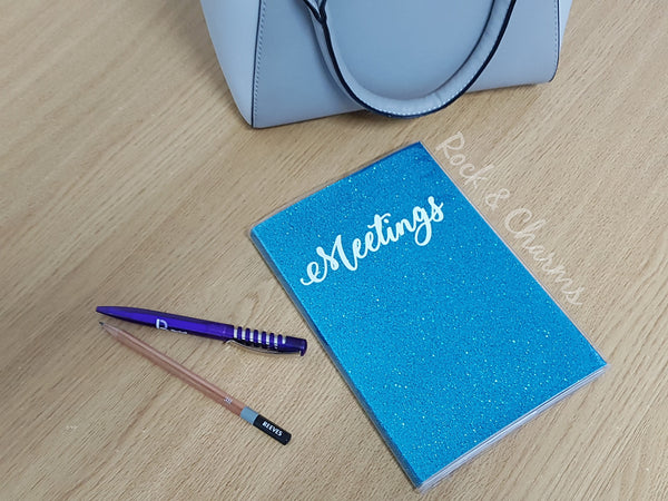 Blue glitter a5 notebook glitter notebook meetings custom notebook notebooks travelers notebook small notebook blank notebook cute notebooks