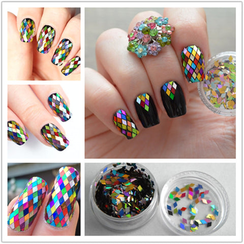 1 Box 2mm Rhombus Sheet Sparkling Nail Art Sequins Decoration Manicure