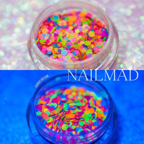 1 Box Nail Glitter 1mm 2mm Mixed Round Glitters Luminous Nail Art Glitter