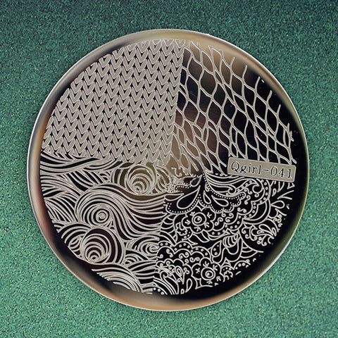1 Pc Knitting Net Wave Design Pattern Nail Art Stamping Template