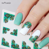 1 sheet Colorful Feather Nail Water Decals French Edge Transfer Stickers Nail