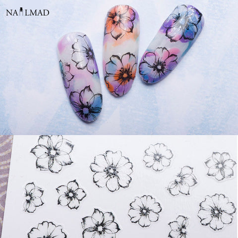 1 sheet Watercolor 3D Nail Art Stickers Fading Flower Nail Sticker Adhesive