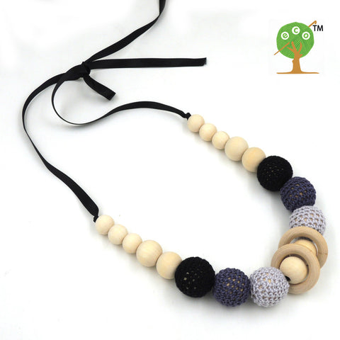 1PC SALE  grey black crochet teething necklace