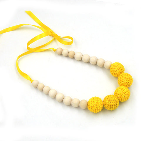 1pc sale Bright yellow Nursing Necklace Yellow Crochet wooden bead