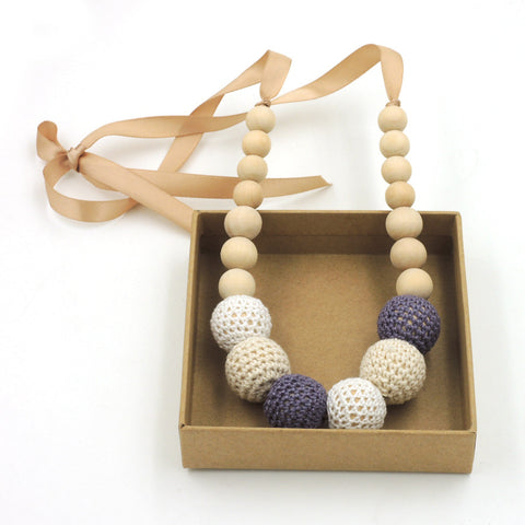 1pc sale Fade Grey cream white crochet teething necklace