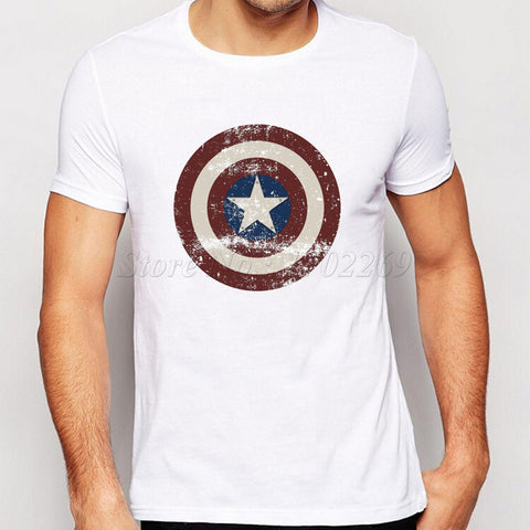 America Style Shield design men t-shirt the avengers vintage male tops