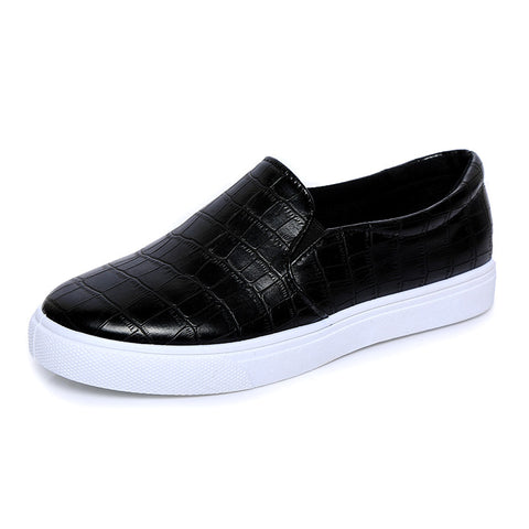 Casual Shoes Chaussure Femme Black Printing Leather
