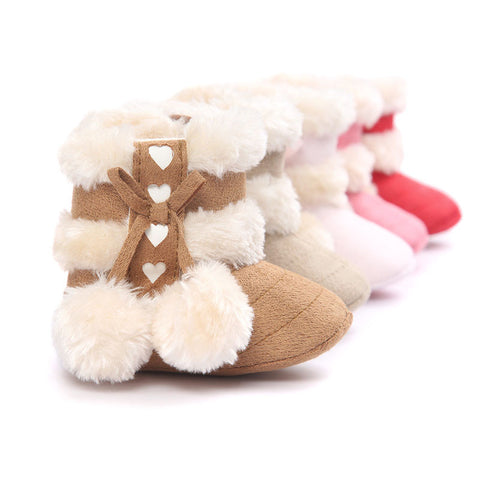 Cute Ball Winter Boots Fashion Soft Bottom