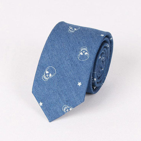 England Style Mens Blue Skinny Anchor Tie