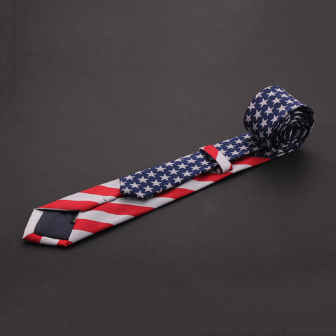 American Flag Tie Stars And Striped Mens Slim Party Necktie 7cm Gravata