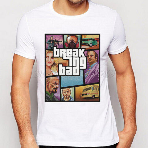 Breaking Bad Characters Printing Men T-Shirt Short Sleeves Male Basic