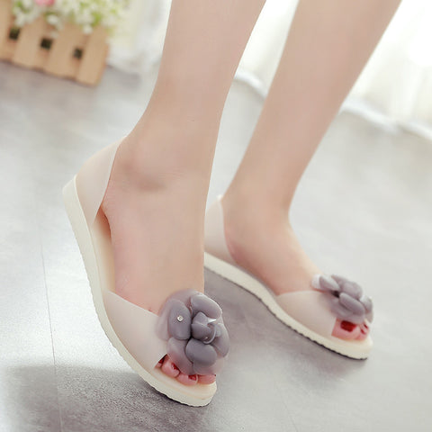 Flat heel open toe women sandals big camellia flower jelly shoes