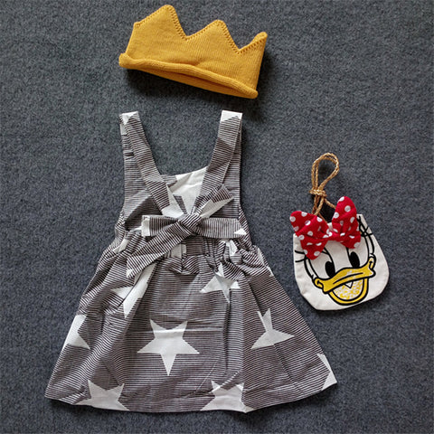 Girls Suspender Dress Striped Halter Strap Dress