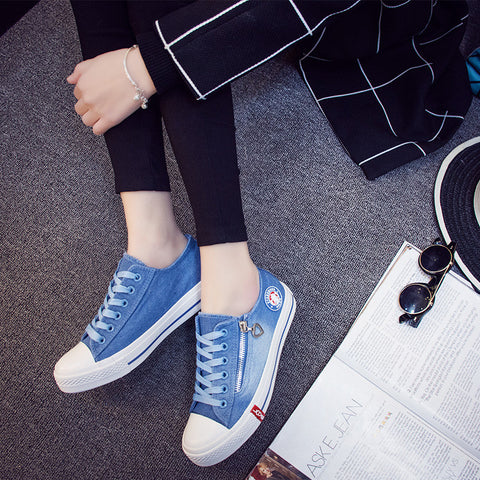 Casual Shoes Washed Denim Canvas Shoes Solid Color Zip Wear