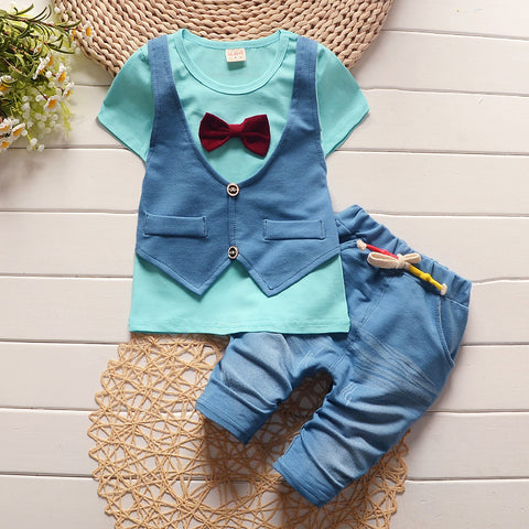 Boys Clothing Set Children vest fake two jacket tops+ Shorts set