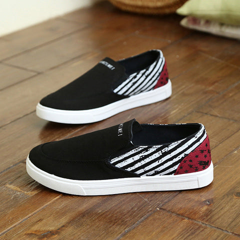 Breathable Flats Black Casual Men Shoes Gingham Custom