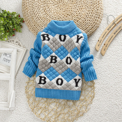 round collar knitting sweater cute long sleeve