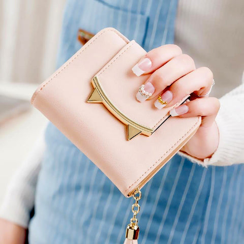 cute Women Short Wallet with Metal Hasp Lock female Change Purse