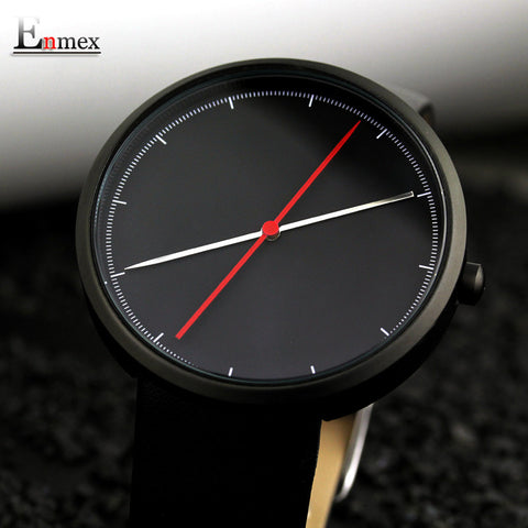 cool wristwatch two balance hands with Fine scale casual leather strap