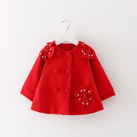 Casual cute coat with beautiful flower Imitation pearls