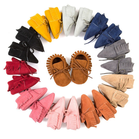 Baby Girl lace-up Pu leather Moccasins shoes infant