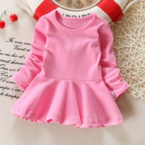 Baby Girls Dresses Candy Color Long Sleeve
