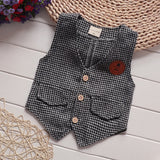 children tie gentleman vest 3 pcs clothing set